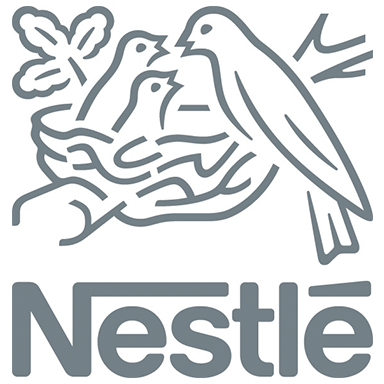 nestle logo type and mother with baby birds vector