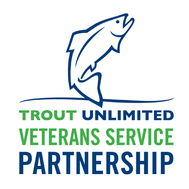 green and blue logo with a fish