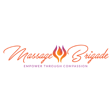 massage brigade logo type logo icon